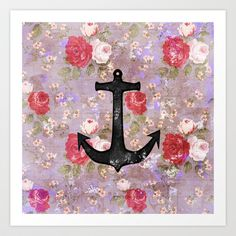Vintage Nautical Anchor Purple Pink Floral Pattern  Art Print by Girly Trend - $15.00