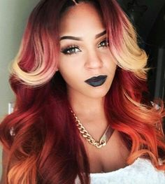 Multicolored hair with strong orange/pumpkin accents. This is so pretty!