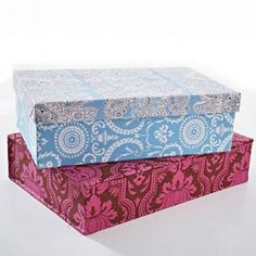 """Fabric-Covered Boxes are a great way to keep things for kids under cover and coordinated. We used the same fabric for pillows on the bed so we could be """"coordinated."""""""