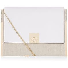 New Look White Colour Block Clutch ($19) ❤ liked on Polyvore featuring bags, handbags, clutches, white pattern, chain strap handbag, colorblock handbags, linen handbag, white handbags and pattern purse