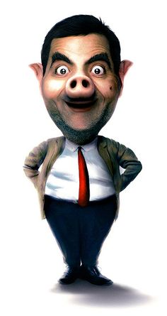 Image detail for -Pig Mr. Funny Faces Images, Mr. Bean, Mr Bean Funny, Illusion Photos, Rowan, Captain America Wallpaper, Funny Love Pictures, Cute Food Drawings, Funny Caricatures