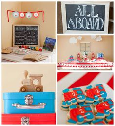 Adorable Red + Blue Choo Choo Train themed birthday party via Kara's Party Ideas KarasPartyIdeas.com. #TrainParty #Thomas #ChooChoo