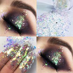 Festival Eye Makeup, Festival Makeup Glitter, Liquid Glitter Eyeshadow, Glitter Pigment, Concert Makeup, Rhinestone Makeup, Glitter Makeup Looks, Rave Makeup, Unique Makeup