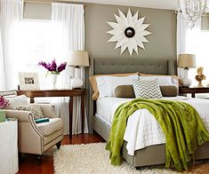 Budget Design - Budget-friendly buys mix with do-it-yourself projects to create a personality-filled bedroom. The headboard and chair were scooped up from an online flash-sale site and are staples that can mix and match with a variety of accessories. Wispy curtains made from sheets dress the windows in style on a dime.