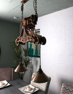 Vintage Barn Door Pulley Chandelier with Brass Shade by ParisEnvy