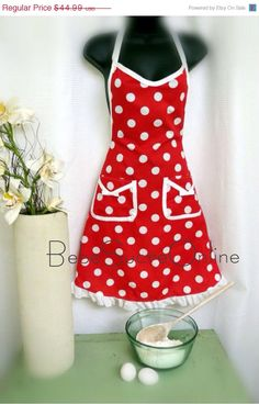 On Sale Retro Red and White Polka Dot Apron by BebeSucreOnline