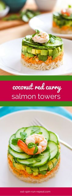 These Coconut Red Curry Salmon Towers look fancy, but they& ridiculously easy to make and all you need to put them together is a knife and a measuring cup. Easy Asian Recipes, Unique Recipes, Great Recipes, Healthy Recipes, Vegetarian Recipes, Healthy Food, Around The World Food, Measuring Cup, Dairy Free Recipes