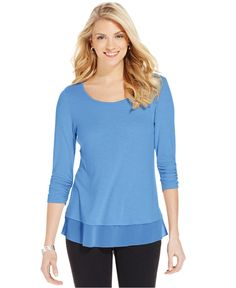 54187939f3151 Women s Knit to Woven Button-Front Top