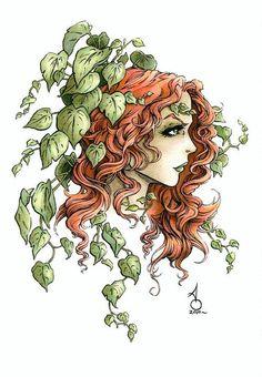 Posion Ivy, tattoo idea for the thigh. Body Art Tattoos, Tattoo Drawings, Woman Tattoos, Ivy Draw, Dc Poison Ivy, Ivy Tattoo, Profile Drawing, Batman Tattoo, Superhero Villains