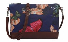 Small crossbody messenger shoulder bag with a Butterfly pattern brown faux leather trim coated canvas matt finish oilcloth style fabric The bag