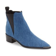 Women's Acne Studios 'Jensen' Pointy Toe Bootie (660 CAD) ❤ liked on Polyvore featuring shoes, boots, ankle booties, blue denim, western booties, short cowgirl boots, ankle boots, pointed toe cowboy boots and short cowboy boots