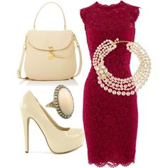 Classy Outfit Maroon and Off White kerianndouglas.polyvore.com