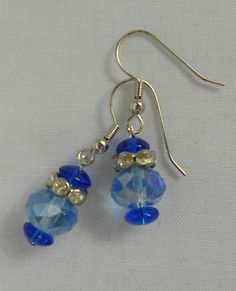 Handmade Earrings Sapphire Blue Bead Rhinstone Spacer and Blue Disc Bead 2013. Sold
