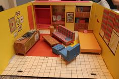 Vintage 1962 Barbie Dream House--how I remember this furniture!