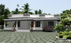Small House Plan Designed To Be Built Above 80 Square Meters Single Floor House Design, House Roof Design, Flat Roof House, Village House Design, Kerala House Design, Simple House Design, Home Building Design, Bungalow House Design, House Design Photos