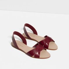 Image 4 of LEATHER STRAP SANDALS from Zara