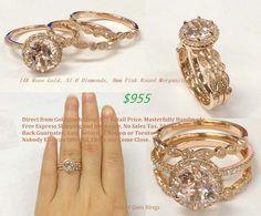 8mm round morganite engagement ring bridal set.14K rose gold, accent pave diamonds