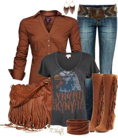 rust, plenty of fringe for texture, worn concert tee, turned up cuffs on blouse create angles, dirty jeans, leather cuff bracelet, angles on belt