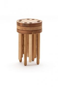 Poke Stool is the first furniture piece created by a typography designer, Kyuhyung Cho. The inspiration was to develop furniture for adults but keep a spirit of child like play in the form and function. The stool is simple, bold and playful. Modular Furniture, Fine Furniture, Unique Furniture, Wood Furniture, Furniture Design, Furniture Assembly, Wood Phone Holder, Stackable Stools, Black Dining Room Chairs