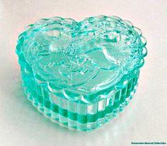 Fenton Aqua Hummingbird Heart Trinket Box