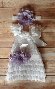 White Lace Petti Dress, Birthday Dress, Purple Dress, Toddler Dress, Baby Girl Dress, Baptism Dress, Flower Girl Dress, Special Occassion on Etsy, $44.95