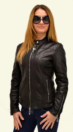 Woman leather jacket silver zip Giubbino nappa con zip argento Chaqueta de cuero