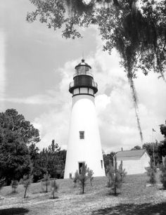 The Amelia Island Lighthouse is Florida's oldest original lighthouse, built in 1838 (1964).   Florida Memory