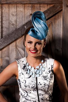 Dusty Blue Silk Abaca Hand Sculptured Fascinator Hat featuring Button Base, Burlesque Pin Up Retro 60s Inspired
