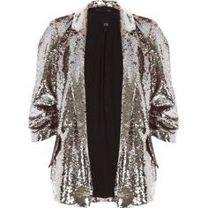 Silver and pink sequin embellished blazer ($105) ❤ liked on Polyvore featuring outerwear, jackets, blazers, 3/4 sleeve blazer, silver metallic jacket, silver sequin jacket, blazer jacket and ruched-sleeve blazers