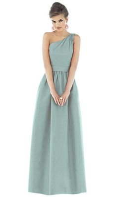 Alfred Sung One Shoulder Long Bridesmaid Dress D531 by Dessy at frenchnovelty.com - Kris