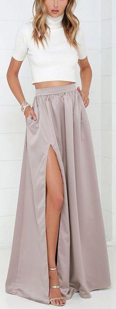 Taupe Maxi Skirt ==