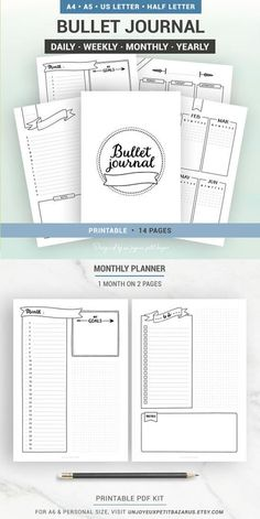 Undated bullet journal printables are the bomb - saves me so much time and I can use them infinitely. Creative Organization: Undated Bullet Journal Printable Bundle. Bullet journal yearly spread and notes, bujo monthly spread, bullet journal weekly logs, daily planner pages, instant download from UnJoyeaxPetitBazarUS #affiliate #bulletjournalcollection #bujoprintables #planneraddict #bulletjournalweeklylog
