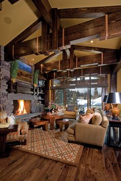 20 Cozy Cabin and Lodge Decorating Ideas...Oh my gosh what beautiful ceiling beams!!!