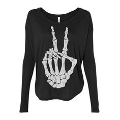 Womens Skeleton Peace Hand Sign Bone Off Shouler Tshirt Gypsy Yoga... ($25) ❤ liked on Polyvore featuring tops, t-shirts, shirts, long sleeves, black, women's clothing, black t shirt, graphic tees, print t shirts and gypsy shirt