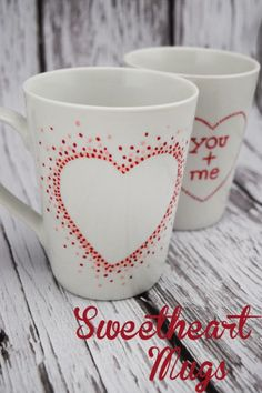 Painting ceramic coffee mugs with sharpies are not permanent!  This is a way to create those cute pinterest sharpie mugs that are actually dishwasher safe. These coffee mug crafts are for valentine's day, but who needs a holiday to create DIY mugs.