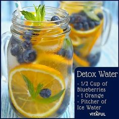 detox water with Blueberries, Orange and ice water