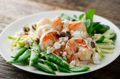 One Bowl Suppers: Shrimp with Watercress, Feta and Sugar Snap Peas - Framed Cooks Yogurt Ranch Dressing, Honey Roasted Peanuts, Large Shrimp, Sugar Snap Peas, Suppers, Sweet And Salty, Fish And Seafood, Pasta Salad, Food Print