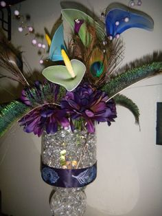 peacock centerpiece completed :  wedding beads blue bouquet brown calla lily centerpiece ceremony diy flowers gold green inspiration mums navy peacock pearl sprays purple reception teal water pearls DSCN7098