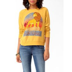 A French terry pullover featuring a distressed graphic of Disney's The Lion King ! Round neckline. Long sleeves. Ribbed trimming. Knit. Lightweight. DETAILS: O…
