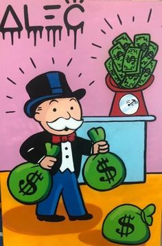 Alec Monopoly - Art Collections Page - Eden Fine Art Gallery Graffiti Drawing, Graffiti Art, Monopoly Man, Cartoon Profile Pictures, Pop Culture Art, Dope Art, Fine Art Gallery, Street Art, Canvas Art