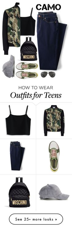 """""""Go Camo"""" by bliznec-anna on Polyvore featuring Lands' End, Chicwish, New Look, adidas, Moschino, Linda Farrow, polyvoreeditorial, polyvorecontest, camostyle and polyvorefashion"""