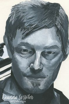 Daryl Dixon realistic portrait - the Walking Dead - Gouache painting