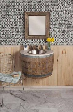 "For ""Most innovative bathroom furniture"" Native trails wins with Bordeaux Wall Mount - wine barrel bathroom sink! Wine Barrel Sink, Wine Barrels, Wine Cellar, Wine Barrel Furniture, Sweet Home, Wall Mounted Vanity, Bathroom Furniture, Bathroom Vanities, Barn Bathroom"