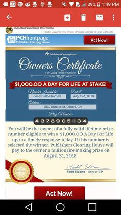 Aug 2019 - I Jose Carlos Gomez confirm publisher's Clearing House notice of compliance for imminent winners selection final step bulletin. Lotto Winning Numbers, Lotto Numbers, Winning Lotto, Instant Win Sweepstakes, Online Sweepstakes, Investing Apps, Win For Life, Publisher Clearing House, Cash Prize