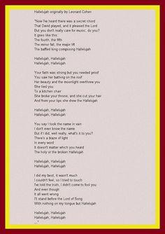 hallelujah lyrics - Google Search   Hallelujah lyrics, Leonard cohen, Lyrics