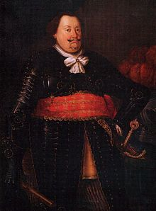 George, Duke of Brunswick-Lüneburg, lived 1582–1641,ruled as Prince of Calenberg from 1635, a son of William, Duke of Brunswick-Lüneburg (1535–1592) and Dorothea of Denmark (1546–1617), daughter of Christian III of Denmark and Dorothea of Saxe-Lauenburg. Married Anne Eleonore, daughter of Louis V, Landgrave of Hesse-Darmstadt. 3X maternal great-grandfather of Catherine the Great.