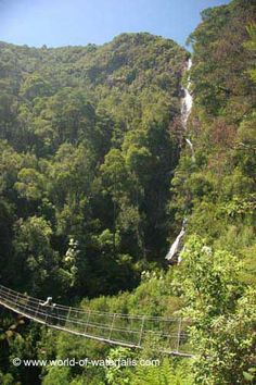 Julie checking out Montezuma Falls from the pretty scary suspension bridge spanning the tall gorge right in front of the falls Montezuma, Suspension Bridge, Tasmania, Waterfalls, Scary, Hiking, Australia, Mountains, World