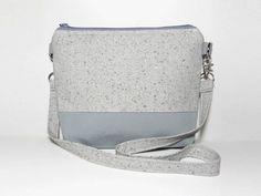 Grey Silver Shoulder Bag Small Eco-friendly by 9thCycleCraftworks