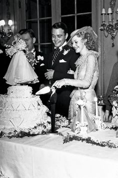 The 1934 wedding of actress Ginger Rogers and actor Lew Ayres.  (Note the doll used as the cake top.)