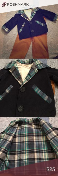 Handmade boy's jacket Beautiful handmade jacket for your little man. 18-24 months sizing. Could fit 2T. Seen here layered with a 2T t-shirt. Outside is light weight navy blue corduroy. Lining is cotton madras plaid. Perfect for spring or early fall. Jackets & Coats Blazers